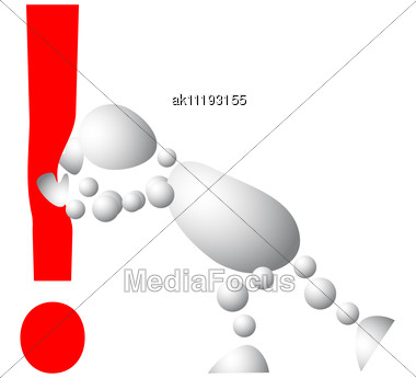Man Pushes An Red Exclamation Mark Abstract 3d-human Series From Balls Variant Of White Stock Photo