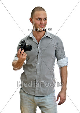 Man With Retro Camera. Isolated On White Stock Photo