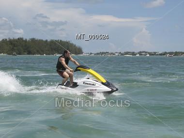 Man Riding Jetski Stock Photo