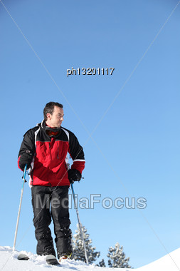 Man Skiing Stock Photo