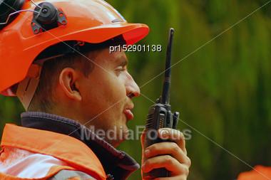 Man Speaking On A Shortwave Radio Stock Photo