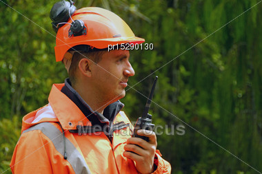 Man Speaking On A Shortwave Radio Stock Photo