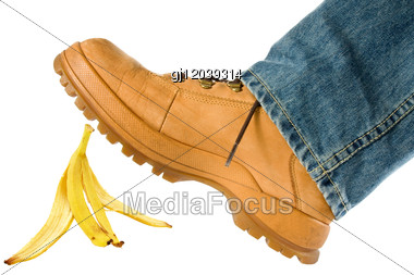 Man Stepping On Banana Peel Stock Photo