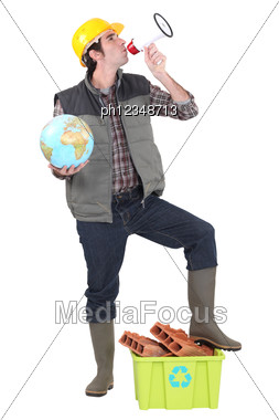 Man Stood With Megaphone And Globe Stock Photo