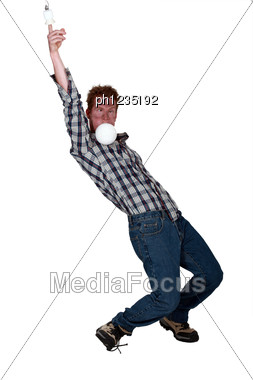Man Suffering From Electric Shock Stock Photo