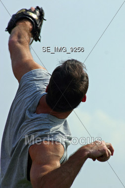 Man Throwing a Pop-up Stock Photo