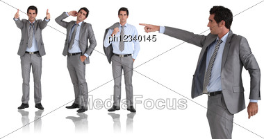 Man In Two-piece Grey Suit Striking Different Poses Stock Photo