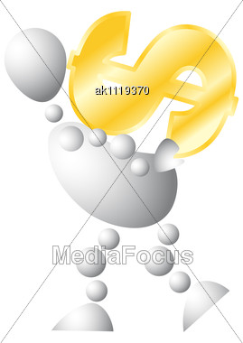 Man With Very Big Golden Symbol Of Dollar Abstract 3d-human Series From Balls Variant Of White Stock Photo
