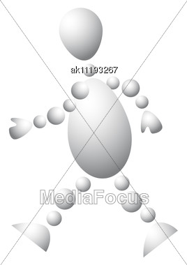 Man Walking Abstract 3d-human Series From Balls Variant Of White Stock Photo