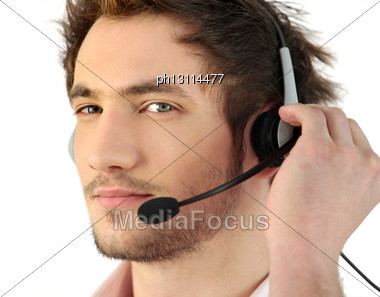 Man Wearing Telephone Head-set Stock Photo