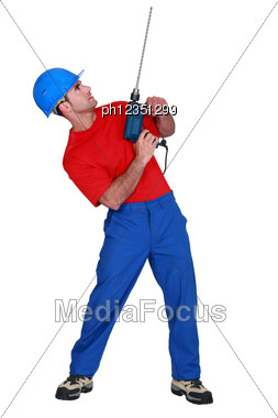 Man With A Power Drill Stock Photo