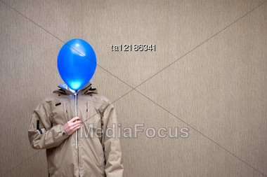 Man With The Balloon Instead Of A Head Stock Photo