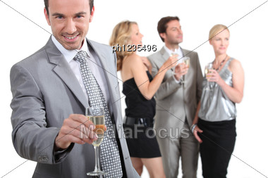 Man With Champagne Stock Photo