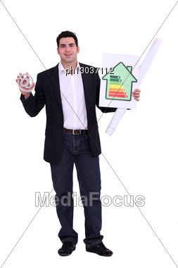 Man With Sign And Energy Panel Stock Photo