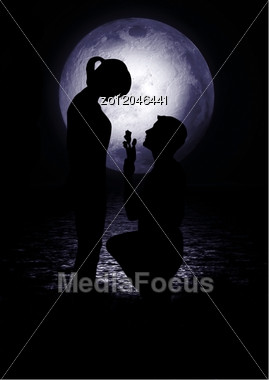 Man And Woman Shined With The Full Moon Stock Photo