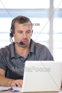 Man Working In An Office Stock Photo