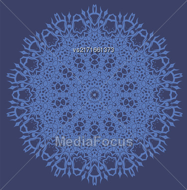 Mandala Isolated On Blue Background. Round Ornament Stock Photo