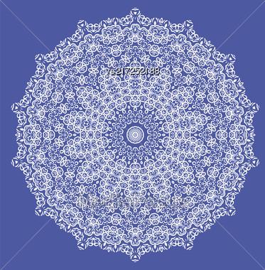 Mandala Isolated On Blue Background. Round Ornament Stock Photo