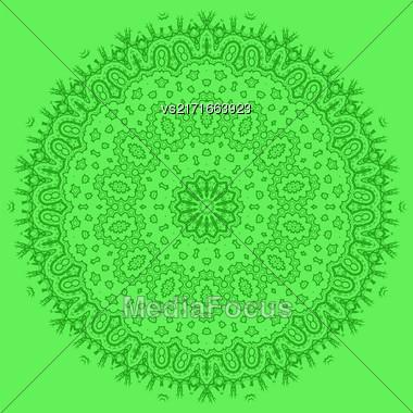 Mandala Isolated On Green Background. Round Ornament Stock Photo