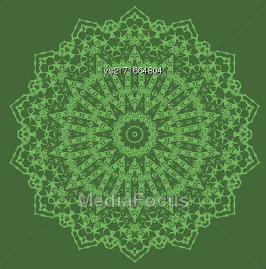 Mandala Isolated On Green Background. Round Ornament Stock Photo