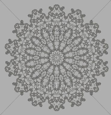 Mandala Isolated On Grey Background. Round Ornament Stock Photo