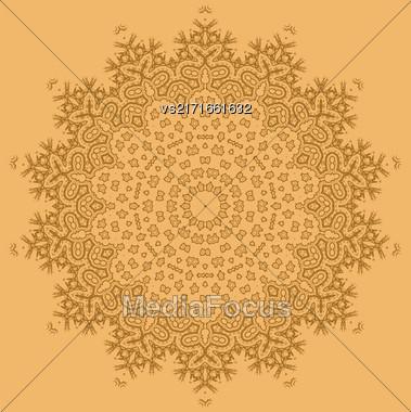 Mandala Isolated On Orange Background. Round Ornament Stock Photo