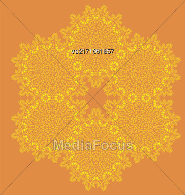 Mandala Isolated On Orange Background. Round Ornament Stock Photo