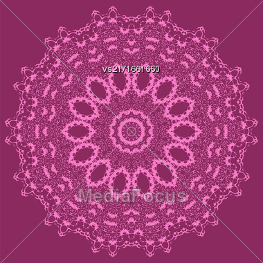 Mandala Isolated On Pink Background. Round Ornament Stock Photo