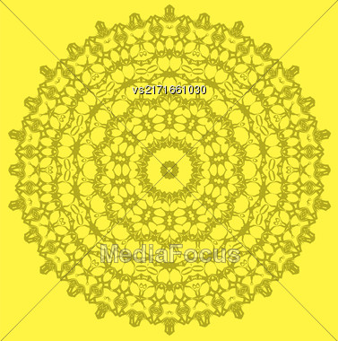 Mandala Isolated On Yellow Background. Round Ornament Stock Photo