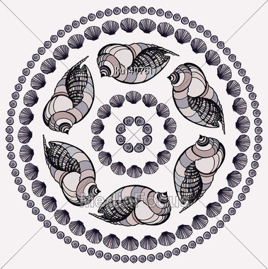 Mandala Made Of Seashells. Vector Decorative Background Stock Photo