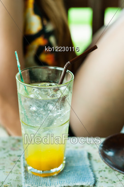Mango Soda Mix Juice With Girl Background Stock Photo
