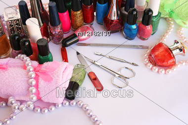 Manicure Set On Gray Background. Stock Photo