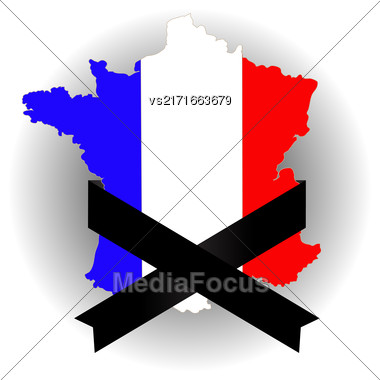 Map Of France And Black Ribbon On Grey Background Stock Photo