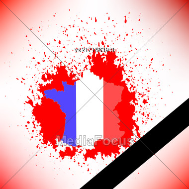 Map Of France And Black Ribbon On Red Background Stock Photo