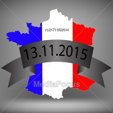 Map Of France. Map Painted In The Colors Of The National Flag Stock Photo