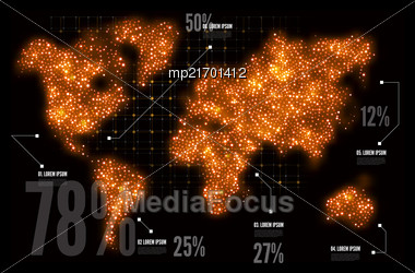 Map Of The World In The Form Of Circles. Vector Illustration, Infographics Stock Photo