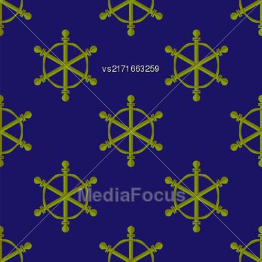Marine Seamless Pattern. Ship Steering Wheel Background Stock Photo