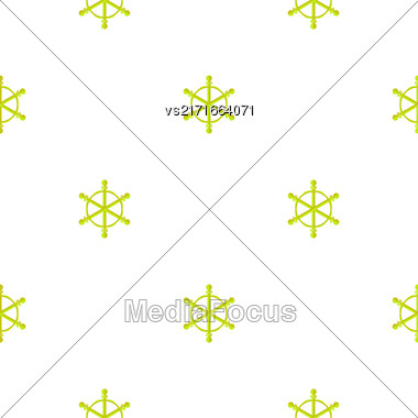 Marine Seamless Pattern. Ship Steering Wheel Background Stock Photo