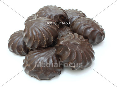 Marshmallow Of Black Color Lies Stock Photo