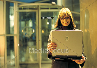 Mature Business Woman with Laptop Stock Photo