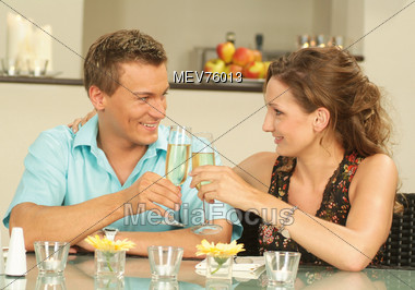 Mature Couple Celebrating with Champagne Stock Photo