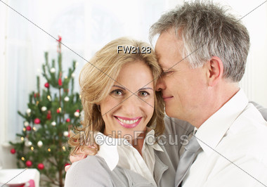 Mature Couple on Christmas Stock Photo