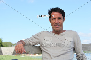 Mature Man Near The Sea Stock Photo