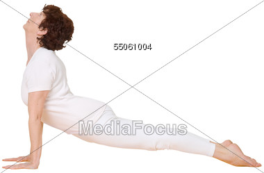 Mature Woman Doing Yoga Cobra Stretch Stock Photo