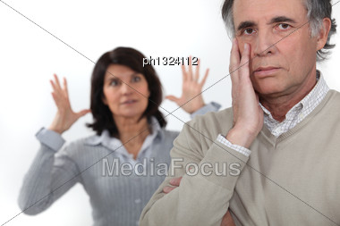 Mature Woman Frustrated With Her Husband Stock Photo