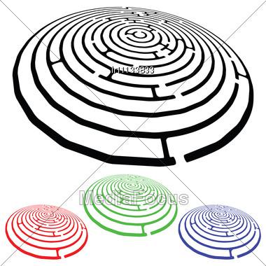 Mazes Design Elements Against White Background Stock Photo