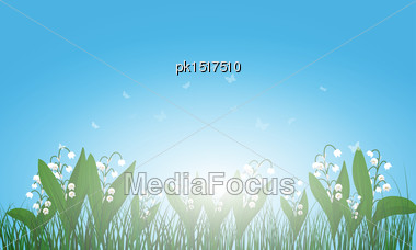 Meadow Color Background With And Sun. All Objects Are Separated. Vector Illustration With Transparency. Eps 10 Stock Photo