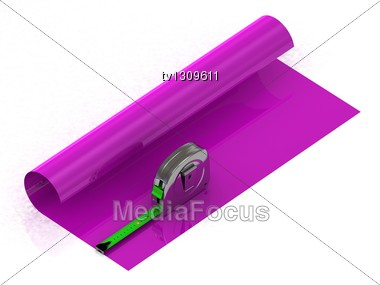 Measuring The Length Of Adhesive Tape Bright Purple Oilcloth Stock Photo