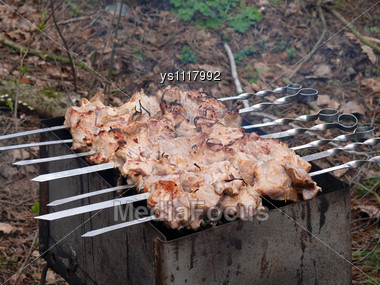 Meat preparation on coals Stock Photo