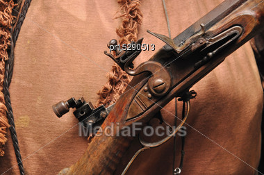 Mechanism Of A Blackpowder Flintlock Rifle Stock Photo